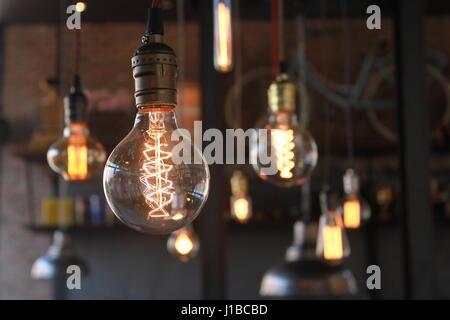 Set of light bulbs on beautiful background - Stock Photo