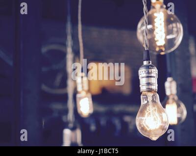Decorative Light Bulbs In Living Room Vintage Style Cool Tone Stock Photo