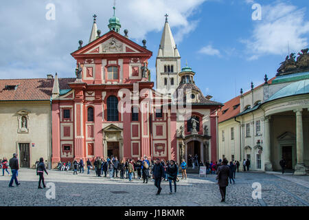St. George's Basilica is the oldest surviving church building within Prague Castle. The basilica was founded by - Stock Photo
