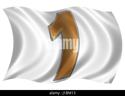 In the wind fluttering the flag with numeral 1, one, isolated on white background, 3d render - Stock Photo