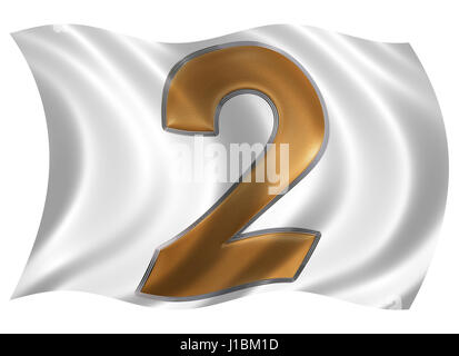 In the wind fluttering the flag with numeral 2, two, isolated on white background, 3d render - Stock Photo