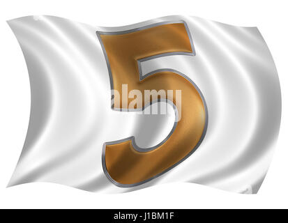 In the wind fluttering the flag with numeral 5, five, isolated on white background, 3d render - Stock Photo