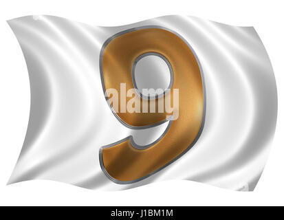 In the wind fluttering the flag with numeral 9, nine, isolated on white background, 3d render - Stock Photo