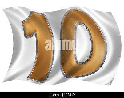 In the wind fluttering the flag with numeral 10, ten, isolated on white background, 3d render - Stock Photo