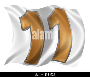 In the wind fluttering the flag with numeral 11, eleven, isolated on white background, 3d render - Stock Photo