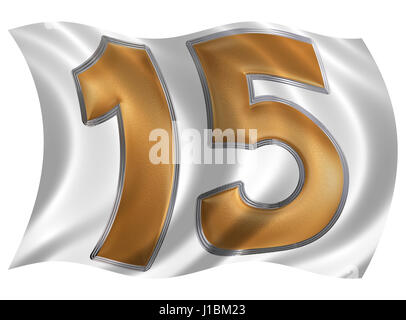 In the wind fluttering the flag with numeral 15, fifteen, isolated on white background, 3d render - Stock Photo