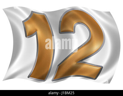 In the wind fluttering the flag with numeral 12, twelve, isolated on white background, 3d render - Stock Photo