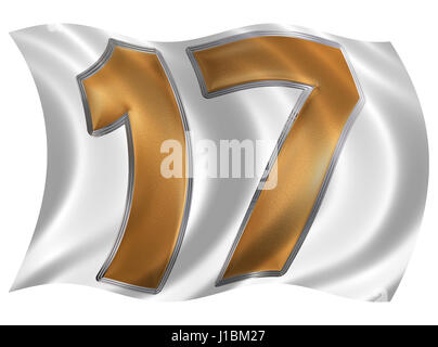 In the wind fluttering the flag with numeral 17, seventeen, isolated on white background, 3d render - Stock Photo