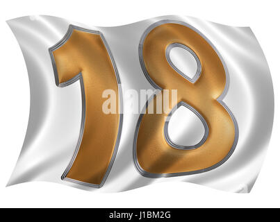 In the wind fluttering the flag with numeral 18, eighteen, isolated on white background, 3d render - Stock Photo