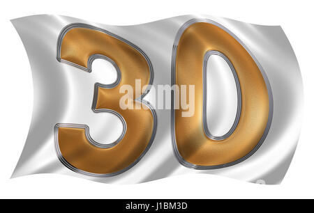 In the wind fluttering the flag with numeral 30, thirty, isolated on white background, 3d render - Stock Photo