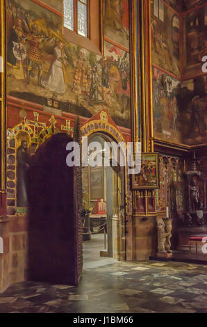 St Wenceslas Chapel is the masterpiece of Czech Gothic and the pride of St Vitus Cathedral. It is dedicated to the - Stock Photo