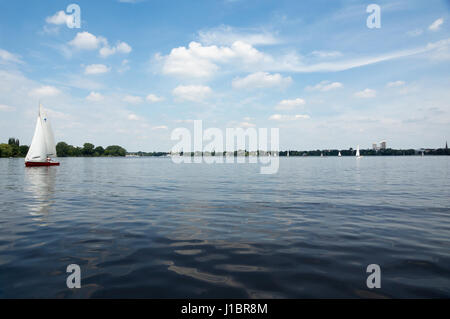 View from Alster lake in Hamburg - Stock Photo