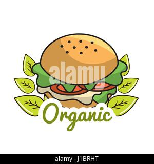 burger icon with leaves organic concept - Stock Photo