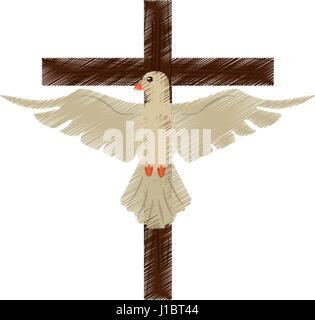 drawing holy spirit cross - Stock Photo