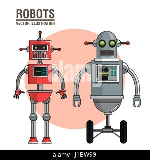robots science interface image - Stock Photo