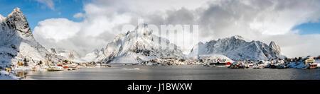 Panorama of Reine in winter on Moskenesoya, Lofoten Islands, Norway - Stock Photo