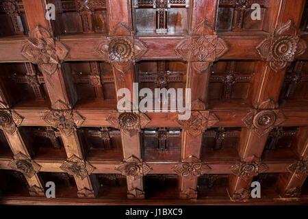 India, Kanyakumari District, State of Tamil Nadu. Padmanabhapuram Palace, circa 1601 AD, the largest wooden palace - Stock Photo