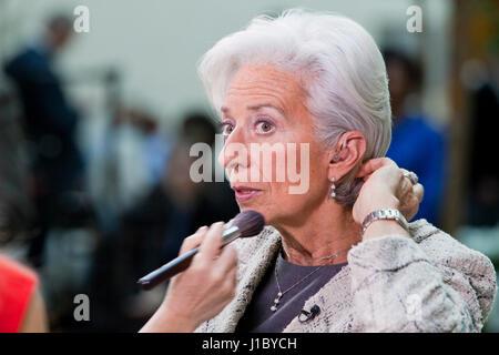 Christine Lagarde, Director if the International Monetary Fund (IMF), preparing for TV interview - USA - Stock Photo
