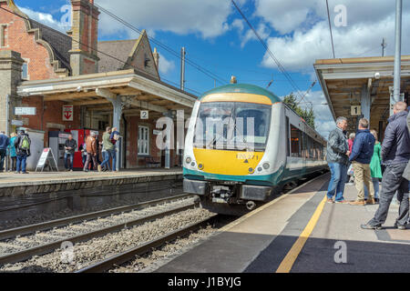Class 170 DMU train at Stowmarket station in Suffolk, UK - Stock Photo