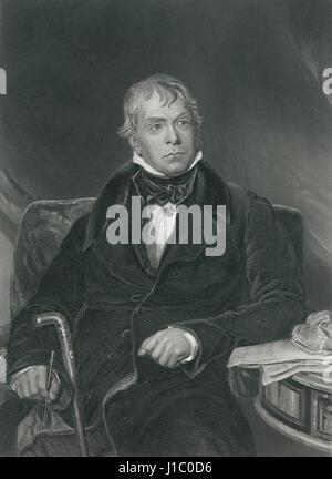 Sir Walter Scott (1771-1832), Scottish Historical Novelist, Playwright and Poet, Portrait, Engraving from Original - Stock Photo