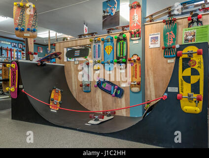 The Daniel Perkins Collection of specialty vintage skateboards and half pipe at the Morro Bay Skateboard Museum, - Stock Photo