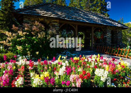 Flowers and gazebo at Cascade Gardens, Banff National Park, Alberta