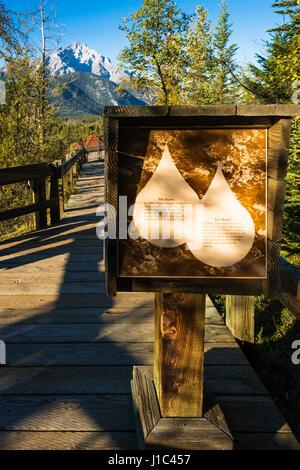 Interpretive sign, Cave and Basin National Historic Site, Banff National Park, Alberta, Canada - Stock Photo