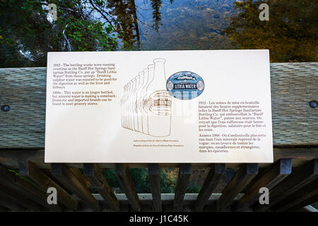 Interpretive sign, Cave and Basin National Historic Site, Banff National Park, Alberta, Canada - Stock Photo