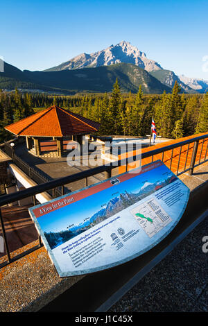 Interpretive display overlooking the Bow Valley, Cave and Basin National Historic Site, Banff National Park, Alberta, - Stock Photo