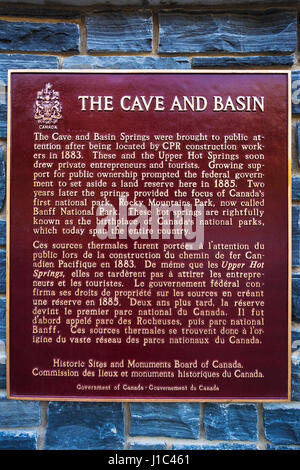 Historic interpretive plaque at Cave and Basin National Historic Site, Banff National Park, Alberta, Canada - Stock Photo