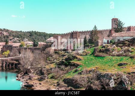View over small historic town Buitrago de Lozoya in Spain - Stock Photo