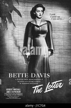 The Letter Bette Davis 1940 Movie Poster Stock Royalty