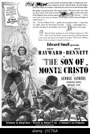1940 U.S. advertisement for the film The Son Of Monte Cristo, starring Louis Hayward, Joan Bennett and George Sanders. - Stock Photo