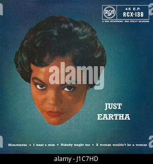 Front cover of the record sleeve for the UK EP Just Eartha by Eartha Kitt. Issued on the RCA label in 1959. - Stock Photo