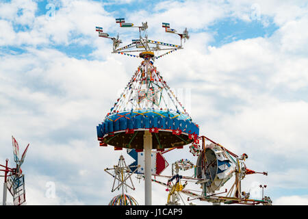 Whirligig Park in downtown Wilson, NC, featuring the creations of deceased artist Vollis Simpson. Simpson was a - Stock Photo