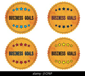 BUSINESS GOALS text, on round wavy border vintage stamp badge, in color set. - Stock Photo