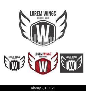 Modern wings shield template logo design. Monochrome, silhouette, color, retro rough versions. design isolated on - Stock Photo
