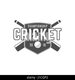 Cricket team emblem and design elements. championship logo . club badge. Sports symbols with gear - bats, ball. - Stock Photo