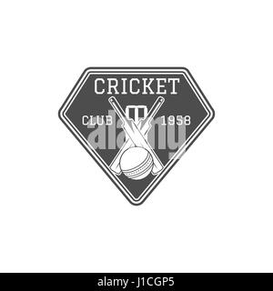 Cricket club emblem and design elements. team logo . stamp. Sports fun symbols with equipment - bats, ball. Use - Stock Photo