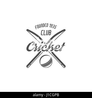 Cricket club emblem and design elements. Cricket team logo design. Cricket tournament badge. Sports symbols with - Stock Photo