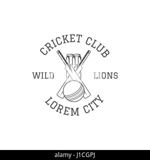 Cricket club emblem and design elements. Cricket club logo design. Cricket patch. Sports stamp with cricket gear, - Stock Photo