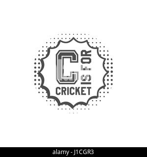 Cricket monogram emblem and design elements. Cricket logo design in pop art style. Cricket club badge. Sports sticker. - Stock Photo