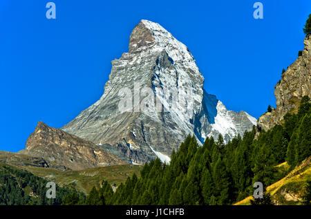 Matterhorn seen from Zermatt, Valais, Switzerland - Stock Photo