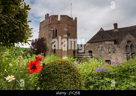 Medieval fortified manor of Stokesay Castle, Shropshire, England, UK: showing the south tower - Stock Photo