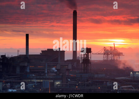 Sunset over Port Talbot Steel Works, South Wales, Wales, United Kingdom - Stock Photo