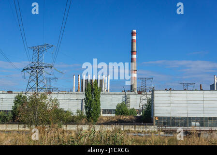 Chernobyl Nuclear Power Plant in Zone of Alienation, 30 km radius exclusion area around the nuclear reactor disaster - Stock Photo