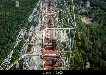 Old Soviet radar system called Duga in Chernobyl-2 military base, Chernobyl Nuclear Power Plant Zone of Alienation - Stock Photo