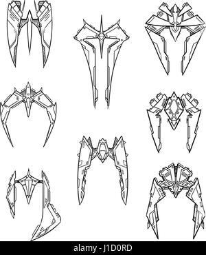 Set of eight hand drawn cartoon vector alien space ship shuttle designs with sharp robotic look - Stock Photo