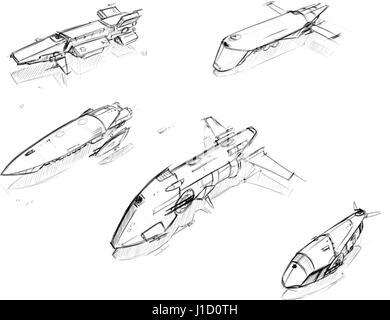 Set of five hand drawn pencil concept art sketches of scifi sci-fi space ship designs - Stock Photo