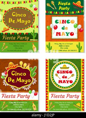 Cinco de Mayo invitation template, flyer. Mexican holiday postcard. Vector illustration. - Stock Photo